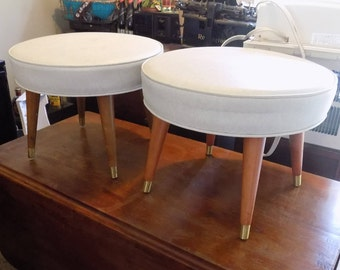 VINTAGE Pair of Mid Century White Vinyl Ottoman with Wooden Legs, Foot Stool