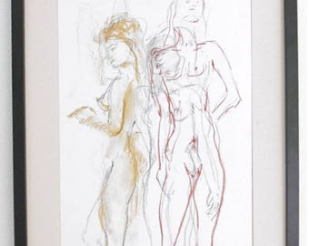Original nude drawing in pastel, pencil, chalk and sanguine, on white paper, A3, female nude in the Studio