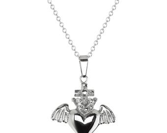 """Stainless Steel Cross, Heart and Wings Religious Pendant, 18"""" Chain Necklace"""