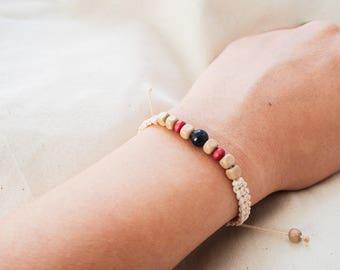 Handmade Blue sandstone/ Blue agate Bead Woven Bracelet, Knotted bead, Friendship Bracelet