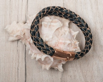 Mens Navy Leather Bracelet, mens braided leather bracelet with magnetic clasp, mens leather bracelet