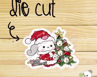 Sugar Bun Bunny Merry Christmas / Christmas tree Die Cut/ Die Cuts