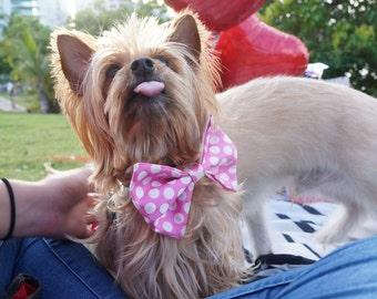 Pink Polca Dots Pet Bowties / Pink Dog bow tie / Pink Dog Bowties / Pink Pet Bowties /Pink Cat Bowties