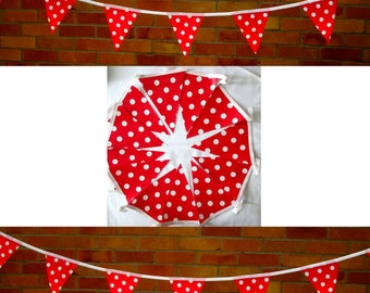 Red White DOTTY BUNTING / Garland - PVC / Oilcloth - 3 Metres +