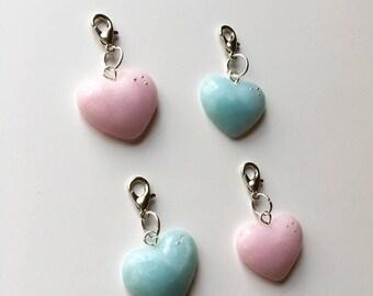 Quartz heart charms//Fimo ice quartz//Fimo rose quartz//Polymer clay