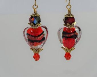 Red black and gold lampwork heart bead dangle earrings