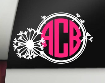 Dandelion Monogram Decal, Monogram Decal, Dandelion Decal, Car Decal, Bumper Sticker, Window, Cup Decal, Tumbler Decal, Computer Decal