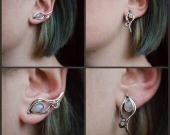 Sterling silver 925 Stud earrings Silver flower Earrings moonstone Wedding accessory Elven earrings Wire wrap earring Moonstone gemstone
