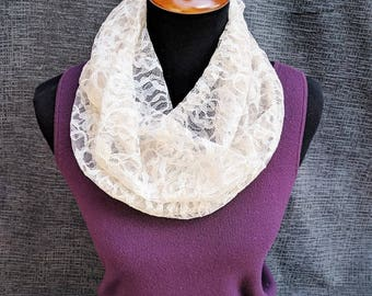 Lace Scarf, Cream Lace, Ivory Lace Scarf, Lace Infinity Scarf, Cream Infinity Scarf, Ivory Scarf, Fashion Scarf, Dressy Scarf, Wedding Scarf