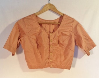 Vintage crop blouse// 50's button down short minimalist earthy peach short sleeve top// Women's size small S to medium M