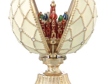 Russian Faberge Style Egg with Church of Savior on Blood St.Petersburg 7cm (2.8'') white