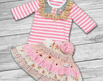 girls pink striped sets-easter dress girls- girls Easter outfit-girls Easter dress-girls boutique outfit-boutique outfits-Summer Outfit