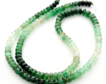 """EMERALD Shaded faceted beads,Amazing quality emerald beads, 3 mm -- 4 mm Approx ,14""""strand [E1416] Emerald gemstone"""
