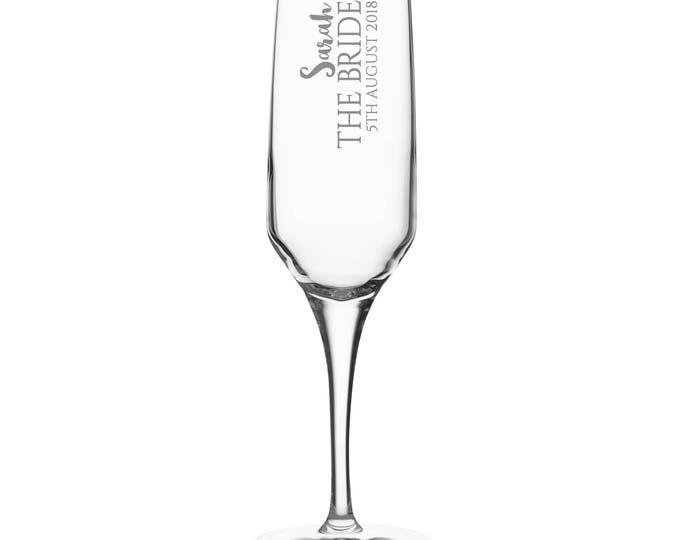Engraved BRIDE champagne prosecco flute glass gift, personalised wedding crystal wine flute - DHC-BP7