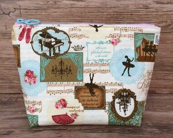 Ballet Makeup Bag – Handmade Japanese Fabric Zipper Pouch Zippered Cosmetics Case Toiletry Bag Toiletries Cosmetic Travel Bag
