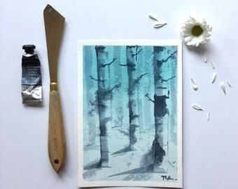 Birch trees in blue 5x7
