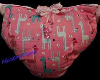 Waddle diaper for ABDL in pink giraffe flannel print.  Cute, soft and cuddly for any adult baby to show off to anyone's mommy.