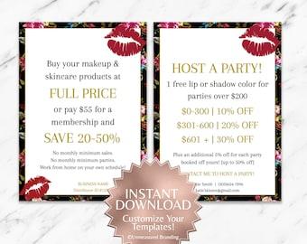 Black|Boho|Floral|LipSense Hostess Rewards|LipSense Host a Party|LipSense Join My Team Card|LipSense Join My Team|LipSense Instant Download