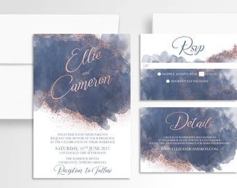 Watercolor Rosegold Wedding Invitation // Invitation Suite //Watercolor Wedding Invitation // Wedding Stationery //Navy Rosegold