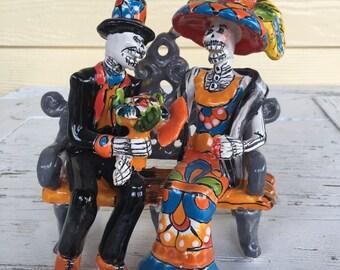 Catrina Couple / Mexican Catrina Figurine / Day of the Dead / Talavera Catrina / Dia de Muertos Catrina