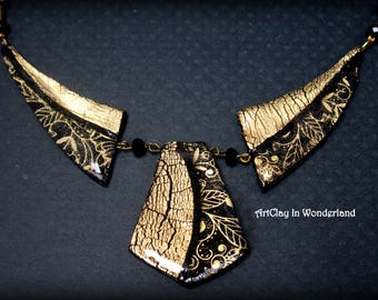 Necklace Black & Gold, black and gold necklace