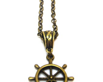Wheel of Law necklace,bohemian necklace,bronze necklace,boho,layering necklace,layered,auspicious symbols