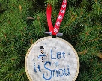Let it snow ornament, cross stitch ornament, cross stitch decoration, Christmas ornament, snow decorations