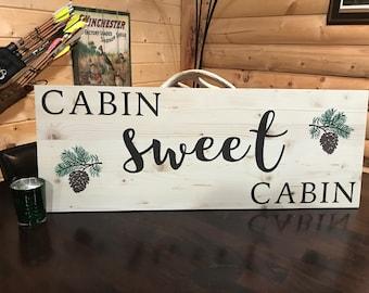 Cabin Sweet Cabin Pine Sign Decorative Handmade Wood Sign Cabin Decoration