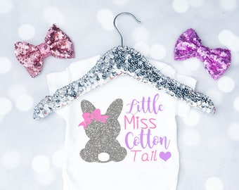 Baby Girl's Little Miss Cotton Tail Easter Onesie, Easter Onesie, My First Easter Outfit, Easter Shirt, Toddler Easter Shirt, Bunny Onesie