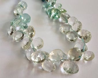 Aquamarine Faceted Heart shape beads , 8 mm to 13 mm Approx size heart shape beads , 8 inch strand approx