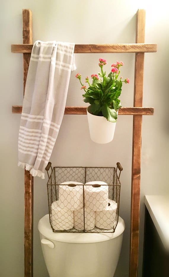 Throw Rustic Ladder Over The Toilet Storage Farmhouse Towel