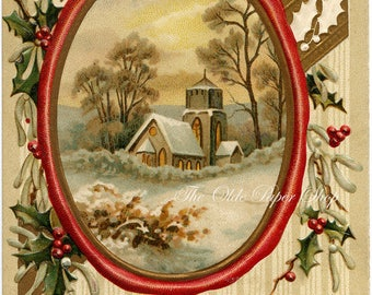 Vintage Christmas Postcard Country Church framed by Holly and Berries 1911