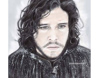 Art print A4/ 8 X 11 - Jon Snow Games of thrones  portrait