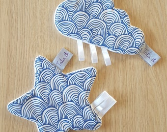 SET of 2 star and cloud fabric Japanese toys