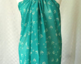 Sarong, Sea green swan print sarong, Beach cover up, Oversized scarf, Shawl, Beach wrap, Fashion accessories