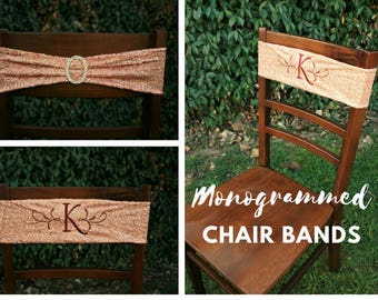 Peach Sequined Stretch Chair Band~Silver Rhinestone Buckle Clasp~Add Monogram Personalization!~Wedding~Party