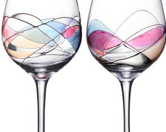 Handcrafted and Painted Wine Glasses by Sonoma Artisan, Set of 2