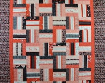 Coral, Black, Cream Quilt