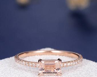 Emerald Cut Morganite Engagement Ring Rose Gold Peach Diamond Half Eternity Multistone Micro Pave Delicate Anniversary Wedding Bridal