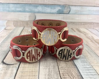 Red / Silver Monogram Cuff, Monogram Leather Bracelet, Monogram Bracelet, Leather Bracelet, Leather Cuff, Monogram Gift, Initial Bracelet