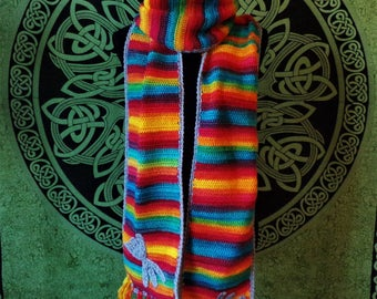 scarf and hat in wool acrylic yarn crochet multicolor luck wicca rune pattern is suitable for the vegan
