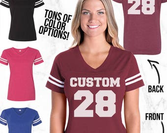 Custom Football Shirt - Womens Football Shirt - Football Jersey - Custom Jersey - Game Day Shirt - Football Tee - Customized Womens Jersey
