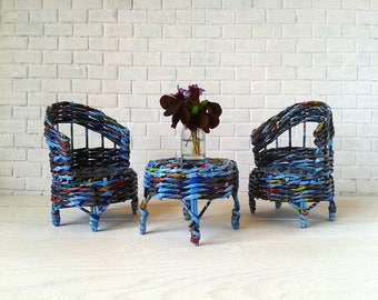 Eco friendly dollhouse chair and table set. Blue and black colors. Take a look, eco-friendly only.