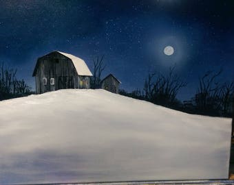 Winter farm in moonlight