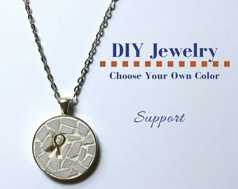Do It Yourself Necklace Making Kit Cancer Awareness Ribbon Kit, DIY Awareness Ribbon Necklace, Mosaic Glass Craft Kit, Gift Under 15