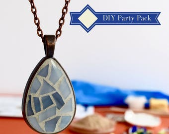 Do it yourself Jewelry Party Kit, DIY gift for women, Glass Mosaic Necklace Craft Kit 8-pack Pastel Colors, Mosaic Making Kit, DIY gift