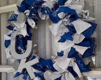University of Kentucky Wildcats, Front door wreath, Blue and white bandanas