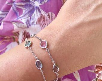 Crystal Bracelet - Silver Bracelet - Colorful Bracelet - Chain Bracelet - Stacking Bracelet - Pink Bracelet - Green Bracelet