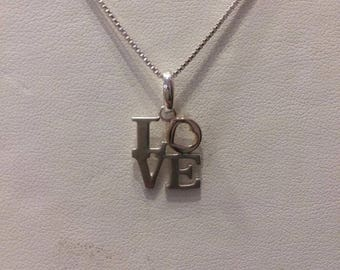 Silver & Rose gold 'love' pendant