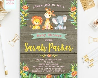 Safari Baby Shower Invitation, Animals Zoo Baby Shower Invitation, Gender Neutral Baby Shower Invitation, Printable Invitation